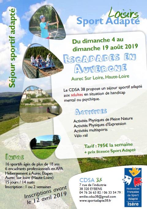 Flyer_séjour adapté-escapades en Auvergne_CDSA 38 - août 2019