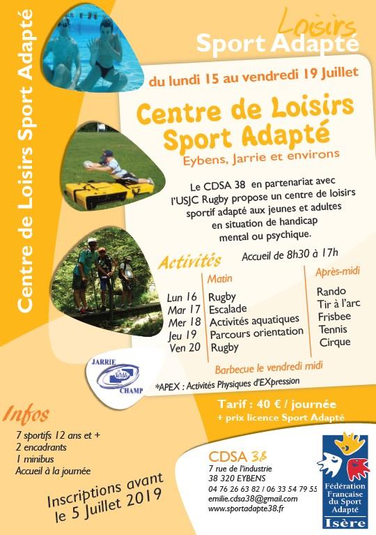 Flyer_séjour adapté-centre de loisirs sport adapté_CDSA 38 - juillet 2019
