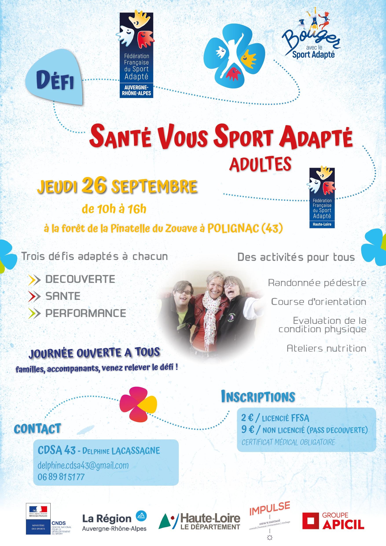 Affiche_Défi Santé Vous Sport Adapté_43-Haute-Loire_26 septembre 2019 [adultes]