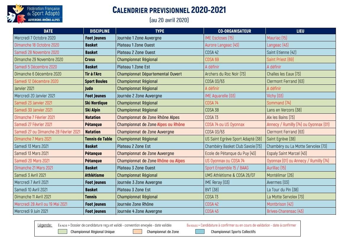 Calendrier 2021 Sport Calendrier sportif régional_saison 2020 2021 [MAJ 21.04.2020